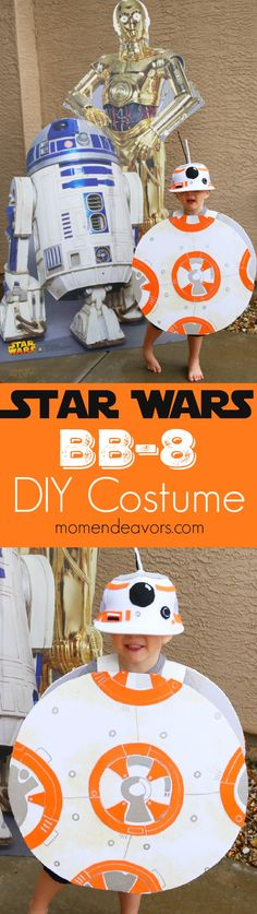 Easy DIY Star Wars BB-8 costume. No sew & quick to make. Perfect for a last minute Halloween costume or for getting ready for the new Force Awakens movie!