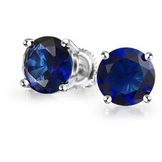 Round Simulated Sapphire CZ Screwback Studs 925 Silver 5mm ($21) ❤ liked on Polyvore featuring jewelry, earrings, blue, blue stud earrings, screw back earrings, silver stud earrings, screw back stud earrings and fake stud earrings