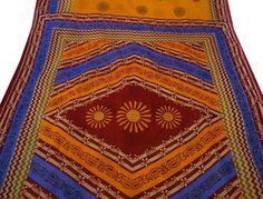 Vintage Style New Indian Saree Cotton Printed Fabric Decor Floral Orange Sari: Amazon.co.uk: Kitchen & Home Vintage Style, Vintage Fashion, Orange Quilt, Indian Sarees, Fabric Decor, Printing On Fabric, Bohemian Rug, Sari, Quilts