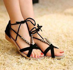 b90a7d338874 Handmade Black Beads Flat Sandals on Luulla