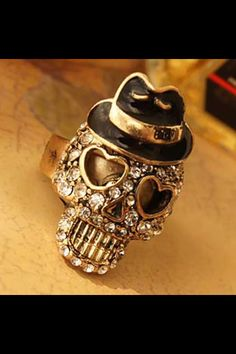 Very stylish adjustable skull ring at...https://www.facebook.com/pages/Silvias-Jewelry-Corner/1575729065979507