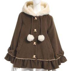 Brown Ruffle Cute Lolita Loose Bear Coat YK1028