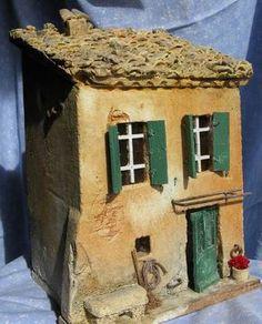 Clay Houses, Ceramic Houses, Ceramic Figures, Miniature Houses, Bird Houses, Diy Nativity, Christmas Nativity Scene, Fairy House Crafts, Pottery Houses