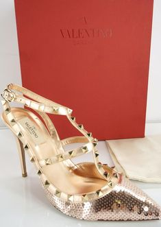 91a163fd334 eBay  Sponsored Valentino Rockstud Liquid Sequin Metal Pump T-Strap Pointed  SZ 40 10