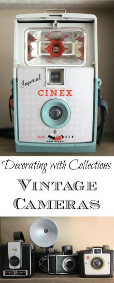 Decorating with Vintage Cameras - love the way she displays them! eclecticallyvintage.com