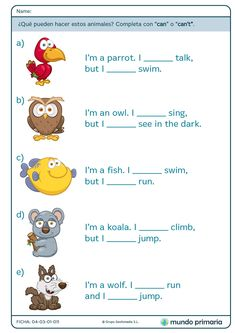 """Can"" y ""Can't"" - Mundo Primaria English Primary School, English Grammar For Kids, Learning English For Kids, Teaching English Grammar, English Worksheets For Kids, English Lessons For Kids, Kids English, English Activities, English Language Learning"