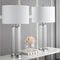 Shop Grant Textured Glass Table Lamp - Set of 2 - Overstock - 31688043 - Clear with Brushed Steel White Table Lamp, Table Lamp Sets, Glass Table Lamps, Grey Table, Light Bulb Wattage, Light Bulb Types, Home Decor Shops, Modern Glass, Lamp Light