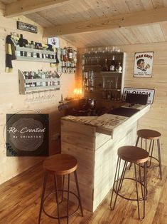 Diy Home Bar, Home Pub, Bars For Home, L Shaped Bar, Summer House Interiors, Red Bar Stools, Home Bar Areas, Pub Sheds, Corner Bar