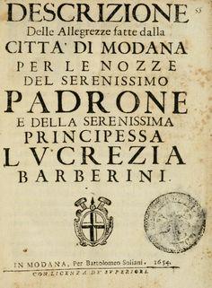 Wedding of Francesco I d'Este and princess Lucrezia Barberini ~ 1654, in Latin or Italian