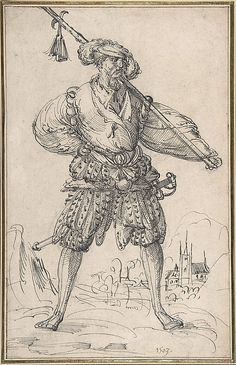 Standing Soldier Circle of Jost Amman  (Swiss, Zurich before 1539–1591 Nuremberg) Date: 1550–91 Medium: Pen and black ink Dimensions: 11 5/16 x 7 3/16 in. (28.7 x 18.3 cm) Classification: Drawings Credit Line: Purchase, Bequest of Helen Hay Whitney, by exchange, 1995 Accession Number: 1995.300 This artwork is not on display