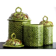 Green Basket Weave Canister Set Daisies and Harvest Fruit Hand Painted... ($48) ❤ liked on Polyvore featuring home, kitchen & dining, food storage containers, fruit canisters, retro canister set, storage canisters, storage canister sets and green canister set