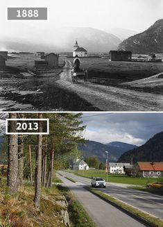 vintageeveryday: fascinating then and now photos that show how Norway's gorgeous landscapes have changed over the past century. Then And Now Pictures, Before And After Pictures, Old Pictures, Old Photos, Abandoned Buildings, Abandoned Places, Photo Facebook, Photo Voyage, Before After Photo