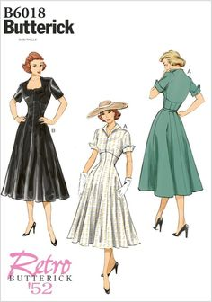 SZ 6 thru 14 - Misses' Fit and Flare Day Dress in Two Variations - Butterick Retro 1952 Reissued Pattern - Butterick Retro from ThePatternSource on Etsy Studio Vintage Dress Patterns, Dress Sewing Patterns, Clothing Patterns, Butterick Sewing Patterns, Sundress Pattern, Clothing Ideas, Fit N Flare Dress, Flare Skirt, Fit And Flare