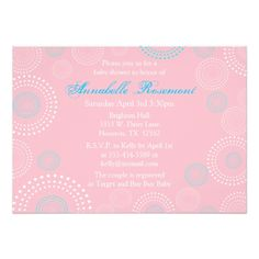 Pink and Blue Circles Baby Shower Invitation