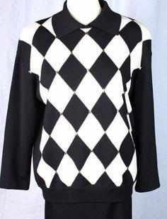 ST JOHN M Santana Knit Black Ivory Argyle Gold Detail Cardigan Sweater Top #StJohn #Cardigan #Everyday