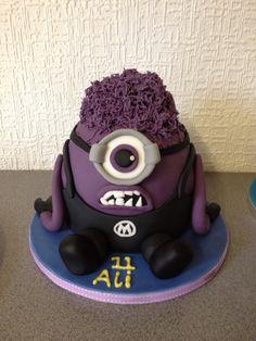 Purple Minion chocolate birthday cake