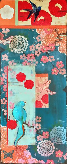 Kathe Fraga paintings inspired by the romance of vintage Parisian wallpapers and Chinoserie Ancienne  When We First Met I, 40x16 inches on frescoed canvas  www.kathefraga.com