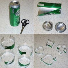 Blikjes recyclen en puntlassen. Verzamel zelf blik. Let erop dat je je niet snijdt aan het blik.