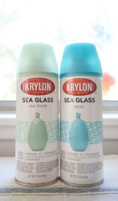 Wine Bottle Crafts: Beach Glass or Sea Glass Bottles for Coastal Decor Sea Glass Crafts, Sea Glass Art, Seashell Crafts, Beach Crafts, Glass Paint, Spray Painting Glass, Looking Glass Spray Paint, Sea Glass Decor, Wine Bottle Crafts