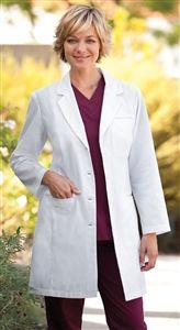 "Barco Uniforms Women's 35"" 4 Pocket Lab Coat 27172 $27.00 Princess seams,  2 button back tab Sizes: 4 - 20    64%Poly/35%Cotton #nurses #doctors #scrubs #scrubcouture #barco #healthcare"