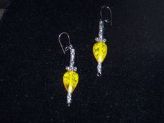 Yellow Dangle Earrings by OurBeadedCharms on Etsy, $7.00
