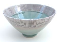 Blue and Red Stripey Porcelain Bowl by SilverLiningCeramics-Katie Marks