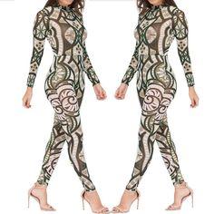 c281e20eec 2016 New Women Summer Long Sleeve Tribal Tattoo Print Mesh Jumpsuit Curvy  African Aztec Bodysuit Celebrity Catsuit Jumpsuit
