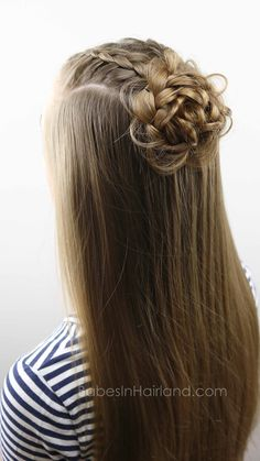 Start with 2 basic Dutch braids and create 5 different cute and easy hairstyles from BabesInHairland.com #hair #hairstyle #braids #ponytail #bun #flowerbun #frenchbraid