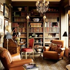 This is a study I'd be very comfortable in.  It's cozy, appears to have a ceiling to floor window...I'd put a tiny window in the wall the picture is taken from, and have all the walls be floor to ceiling bookcases, but otherwise its perfect.