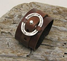 FREE SHIPPINGMen's leather bracelet Handmade  brown by eliziatelye, $25.00
