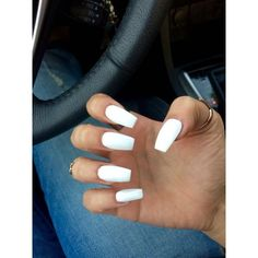 medium/long coffin acrylic nails! white prom nails are the classiest... ❤ liked on Polyvore featuring beauty products and nail care