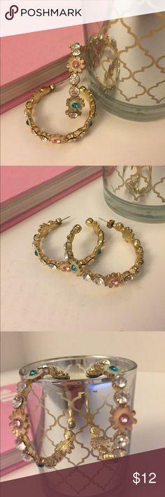 Sparkling Enamel Floral Half Hoop Earrings Sparkling Enamel Floral Half Hoop Earrings Forever 21 Jewelry Earrings