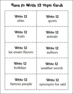 FREE Race to Write 12 cooperative learning activity to celebrate 12-12-12
