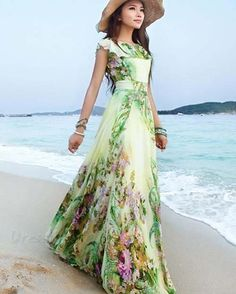 long beach dress on sale at reasonable prices, buy 2017 summer elegant slim women's chiffon full dress expansion bottom double layer ruffle maxi dress bohemia long beach dress from mobile site on Aliexpress Now! Long Summer Dresses, Beach Dresses, Maxi Dresses, Summer Maxi, Wedding Dresses, 2017 Summer, Long Dresses, Chiffon Dresses, Late Summer