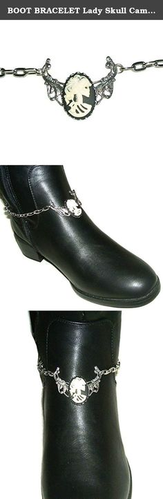 "BOOT BRACELET Lady Skull Cameo Silver Pltd Chain Anklet Or Choker Necklace. This listing is for ONE silver plated boot chain bracelet that features a fabulous Gothic Lady Skeleton resin cameo. If you want a matching boot chain for both of your boots then you will need to make sure you order two of them. (many customers like to wear just one so that is why they are not sold as a pair but individually) The center design section is 1 5/8 x 1 3/8"". Not all boots are the same diameter in the..."