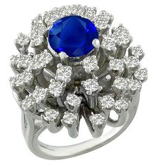 1.78ct Sapphire 1.75ct Diamond Cluster Ring