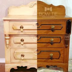 Tones of yellows chalk painted on a East Lake era dresser. Layers of dry brushed chalk paint fro dark orange to light yellow. #dixiebellepaint #bowtietreasures Chalk Paint Dresser, Chalk Paint Furniture, Painted Dressers, Painted Furniture For Sale, Antique Furniture, Yellow Chalk Paint, Antique Buffet, Dixie Belle Paint, Vintage Vanity