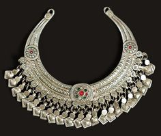 Balochistan | Necklace; silver and glass | 20th century