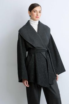 Cashmere Double-Face Short Belted Wrap Coat in essential Black - made in  Italy from c4de1d3b8