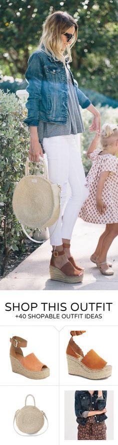 #summer #outfits  Denim Jacket   White Skinny Jeans   Brown Suede Wedge   Grey Tee