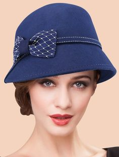 9d0b672a2f346 Vintage Winter Warm Wide Brim Wool Felt Bowknot Fedora Hat SAPPHIRE BLUE   Hats
