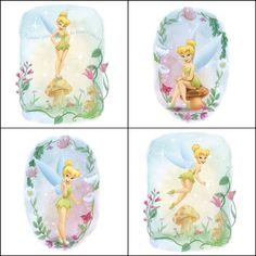Blue Mountain Wallcoverings 31720449 Very Fairy Tinker Bell 4Piece SelfStick Wall Art ** Click image to review more details.