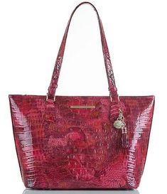 eeb65f9eda11 Brahmin Melbourne Collection Crocodile-Embossed Medium Asher Tasseled Tote  Tote Handbags