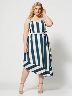 bc872a615480 PlusKayleigh Striped Belted Dress - Fashion to Figure