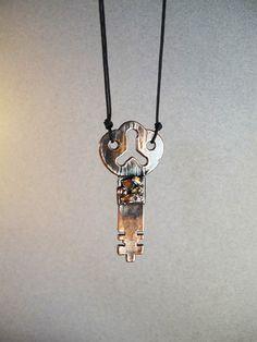 Copper flat skeleton key electroformed jewelry by AurumgirlStudio