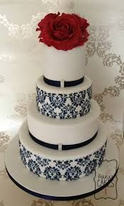 This Damask Wedding Cake uses one of the stencil that I've pinned. by Pink Cake Box Navy Blue Wedding Cakes, Round Wedding Cakes, Damask Wedding, Wedding Cakes With Flowers, Beautiful Wedding Cakes, Red Wedding, Beautiful Cakes, Wedding Colors, July Wedding