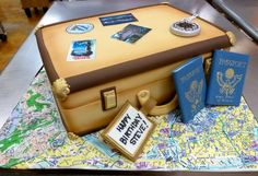 Birthday Cakes — Fancy Cakes by Leslie Luggage Cake, Suitcase Cake, Sports Birthday Cakes, Cool Birthday Cakes, Travel Cake, Travel Luggage, Sport Cakes, Bakery Cakes, Cookie Designs