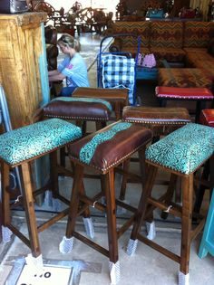 Find this Pin and more on Ranch Cowhide Western Furniture Co barstools in turquoise tooled leather