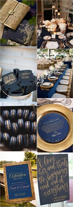 Navy blue and gold wedding color ideas / http://www.deerpearlflowers.com/navy-blue-and-gold-wedding-color-ideas/