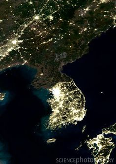 North & South Korea from space at night